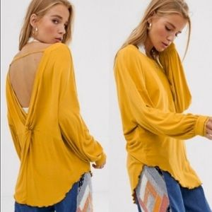 Free People Shimmy Shake Long Sleeve Top Gold